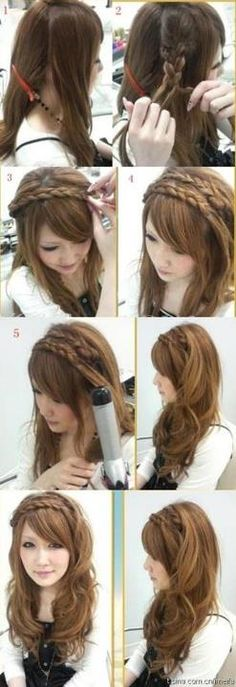 braded hair crown 1/2 up 1/2 down  <3 it
