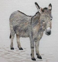 ♒ Enchanting Embroidery ♒  embroidered Donkey - Apprentice piece by Jennifer Spindler
