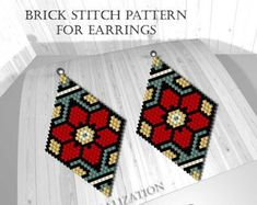 Brick stitch patterns for beads earrings, digital file pdf, Brick stitch patterns for beads earrings, digital file pdf, Beading peyote / brick / loom / pattern Beaded Earrings Patterns, Bead Loom Patterns, Peyote Patterns, Weaving Patterns, Jewelry Patterns, Stitch Patterns, Seed Bead Earrings, Seed Beads, Knitting Patterns