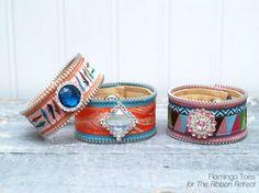 Ribbon & Zipper Cuff Bracelets