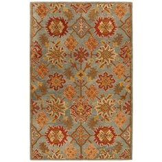 A traditional Oriental floral in rust and orange gives the Safavieh Heritage Indoor Area Rug its visual drama. This wool area rug is hand-tufted. Wool Area Rugs, Wool Rug, Floral Area Rugs, Oriental Pattern, Carpet Stains, Colorful Rugs, Weaving, Handmade, Charcoal