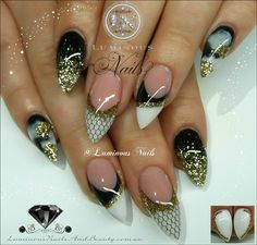 Luminous Nails: Black, White & Gold Nails with Netting...