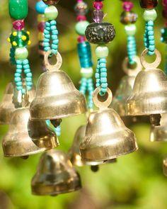 Wind chime - beaded mobile with Brass bells- sun catcher - Bohemian décor- Hippie style décor-garden bells-outdoor hanging decor-suncatcher Hippie Style, Boho Style, Sun Catchers, Diy Wind Chimes, Homemade Wind Chimes, Glass Wind Chimes, Estilo Hippy, Ceiling Hanging, Boho Home