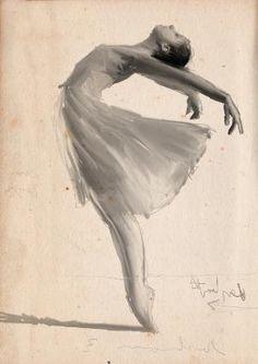 Ballet art by VoyageVisuelle ✿⊱╮ Ballerina Sketch, Ballerina Art, Ballet Art, Ballet Drawings, Dancing Drawings, Art Drawings, Ballet Painting, Dance Paintings, Painting & Drawing