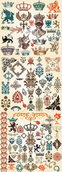 European Classic Pattern Totem Vector European-style Lace Crown Tattoo inspiration