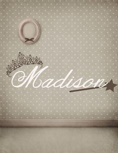 Magic Wand, Children's, Girl's, Baby's, Name, Fairy, Tiara, Crown, Princess - Vinyl, Decal, Sticker, Wall Art, Nursery, Child's Bedroom on Etsy, $24.65 CAD