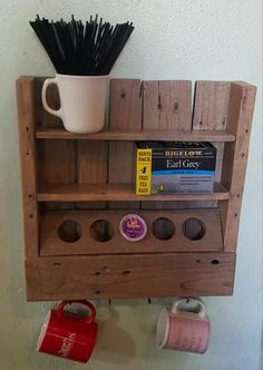 Rustic Coffee or Tea Shelf Made from Only One Recycled Pallet