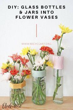 Reuse glass bottles and jars to make modern flower vases.  #Bottle, #Concrete, #Floral, #Flower, #Glass, #Jar, #Vase #RecycledGlass Flower Vases, Diy Flowers, Colorful Flowers, Bottles And Jars, Glass Bottles, Concrete Candle Holders, Glass Bottle Crafts, Hanging Vases, Flower Making