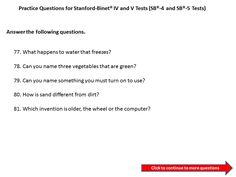 Sample Patrice Question For The StanfordBinet   Test Level