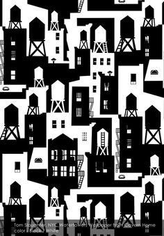Tom Slaughter, NYC Watertowers wallpaper from Cavern Home in Black / White