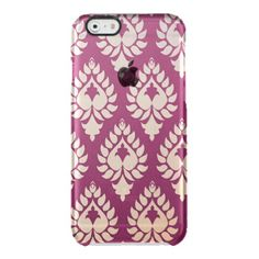 Elegant,beautiful,burgundy,gold,damask,oriental,ch Uncommon Clearly™ Deflector iPhone 6 Case