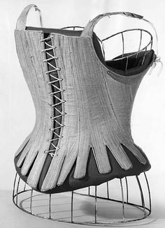 Corset Date: 1740–60 Culture: American Medium: linen, leather, whalebone Dimensions: Length at CF (a): 15 in. (38.1 cm) Credit Line: Brooklyn Museum Costume Collection at The Metropolitan Museum of Art, Gift of the Brooklyn Museum, 2009; Gift of the Jason and Peggy Westerfield Collection, 1969 Accession Number: 2009.300.3330a–d