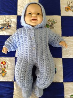 Newborn Hooded Romper / Playsuit or will fit by Meganknits4charity, £19.00