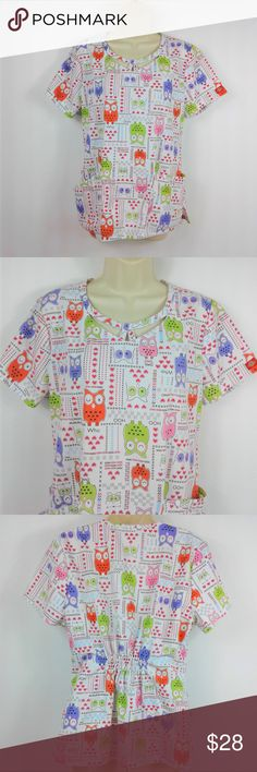 """Runway Cherokee Designer Women's Scrub Top Runway Cherokee Designer Women's Scrub Top Size 2XL Pink Black Butterflies Floral  Very nice condition. Pretty and fun. Note measurements to assure proper fit.  Size: 2XL Chest (pit to pit): 24"""" Height (back of collar to hem): 27"""" Cherokee Tops Blouses"""