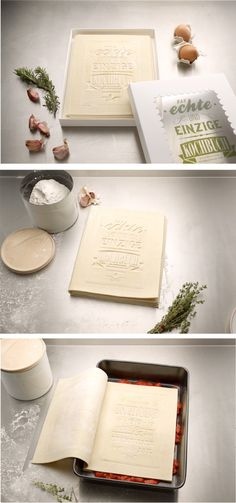 The first and only Cookbook you can actually read, cook and eat. Made out of 100% fresh pasta it can be opened, filled with ingredients and finally be cooked. Packaged as classic lasagna. The Cookbook was designed by German design agency Korefe as a special project for a large publishing house.