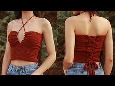 Crochet Top Outfit, Crochet Jumper, Crochet Halter Tops, Crochet Clothes, Diy Clothes, Mode Crochet, Kawaii Crochet, Criss Cross Top, Crochet Fashion