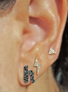 Black Diamond Initial Stud Earring, Small Diamond Triangle and Diamond Lightning Bolt from The EarStylist by Jo Nayor