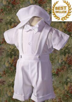 baby boy cotton christening suit.  Cute (shorts not pants)