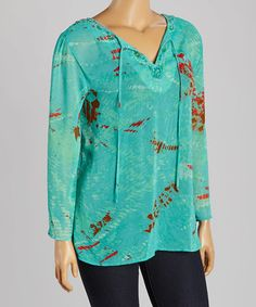 Look what I found on #zulily! Teal & Red Notch Neck Top - Plus by Sienna Rose #zulilyfinds