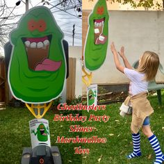 Our Ghostbusters Birthday Party Game:  Slimer Marshmallow Toss was very popular with the kiddos and Adults.