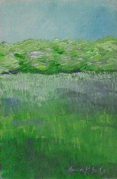 Painting Landscape Summer Field 4x6 original on by annarobertsart, $50.00