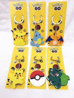 100Pcs Pikachu Pokemon Double Sided Rubber Keychain Anime Metal Key Chains Go-12