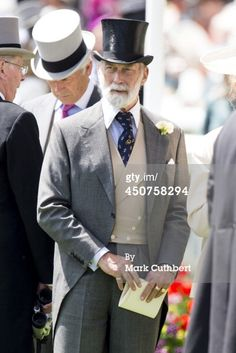 Prince Michael of Kent attends Day 1 of Royal Ascot at Ascot. Morning Coat, Morning Suits, Morning Dress, Men Party, Ladies Party, Victorian Era, Victorian Fashion, Ascot Outfits, Prince Michael Of Kent