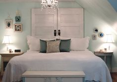 Image from http://bmorelive.com/wp-content/uploads/2015/03/bedroom-teens-bedroom-enthralling-light-blue-wall-paint-headboard-design-ideas-with-creative-white-wood-door-headboard-and-comfortable-white-bed-cover-plus-soft-some-pillows-also-stylish-white-wood-b.jpg.