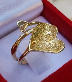Friendship Gold Ring 14K Yellow Gold Ring Heart by TalyaDesign