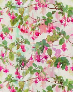 Rainbow Fuchsia Floral Pattern (For Sale)