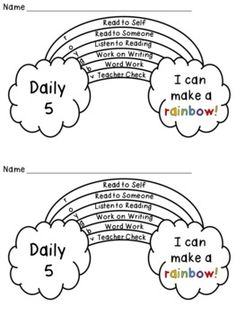 Students color in which activity they did each day on the rainbow, and then when they complete all 5, you check it, they color in the 6th part. FREE