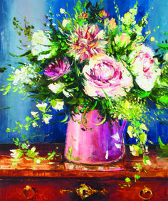 """""""Still Life Pink Jug"""" by Gleb Goloubetski Oil on Canvas 60cm x 50cm  THIS PAINTING IS SOLD"""
