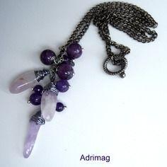 Collier avec des bâtonnets et perles en améthyste