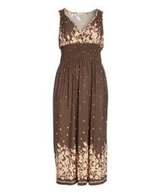 Another great find on #zulily! Brown Floral-Border Maxi Dress - Plus #zulilyfinds