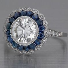 Unforgettable platinum & gold Art Deco & Edwardian Engagement Ring Settings for large and small round diamonds, sapphires, rubies, emeralds & aquamarines. Art Deco Diamond Rings, Diamond Brooch, Diamond Art, Art Deco Ring, Art Deco Jewelry, Jewelry Design, Jewelry Ideas, Art Deco Fashion, Fashion Jewelry