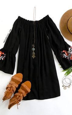 Black Embroidered Bell Sleeve Off The Shoulder Dress