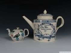Large Named and Dated Creamware Teapot and Cover, inscribed 'John Parker, Nettlebed, Oxfordshire, high. Available for purchase. Lanes End, Types Of Ceramics, Cow Creamer, King Of Prussia, English Pottery, Tea Canisters, Snake Design, Hens And Chicks, Tea Caddy