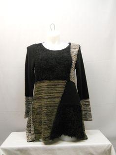 Plus Size 1X Women's Patchwork Sweater STYLE&CO. Black Tunic Asymmetrical Pullov #Styleco #Tunic