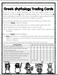 Greek mythology trading cards - project after reading myths. This could be adapted for other units.... Egyptian Gods, Roman Rulers...