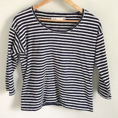 """Classic navy and white Madewell striped tee Classic navy and white Madewell striped tee goes with everything. 22"""" overall length; ¾ sleeves. 100% cotton. Madewell Tops Tees - Long Sleeve"""