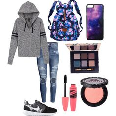 Pink by hellofashion22 on Polyvore featuring polyvore, fashion, style, Victoria's Secret PINK, H&M, NIKE, Victoria's Secret, Roial, Tory Burch and Too Faced Cosmetics