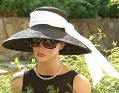 Audrey Hepburn Hat, Breakfast At Tiffany's Hat, Wide Brim Hat, Kentucky Derby…
