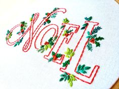 Christmas Embroidery Patterns, Embroidery Stitches Tutorial, Hand Work Embroidery, Embroidery Patterns Free, Machine Embroidery, Embroidery Sampler, Embroidered Christmas Ornaments, Hand Embroidery Projects, Embroidery Shop