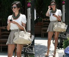 Kourtney Kardashian  She's wearing Bec & Bridge Wild and Free Shorts (buy from Shopbop), Tom Ford Rhonda Sunglasses (buy from Shopbop), Christian Louboutin heels (buy from Mytheresa) and finally she's carrying the Balenciaga City Bag (buy from Mytheresa).