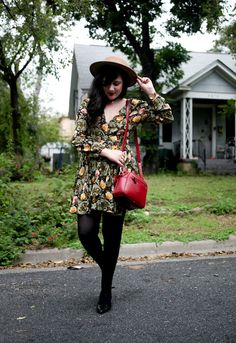 Flashes of Style: green floral dress over black tights and red purse |  dress- Urban Outfitters
