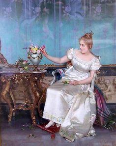 Vittorio Reggianini  Dame en blanc robe Louis XV en intérieur https://www.mixturecloud.com/media/KT5GbLyJ