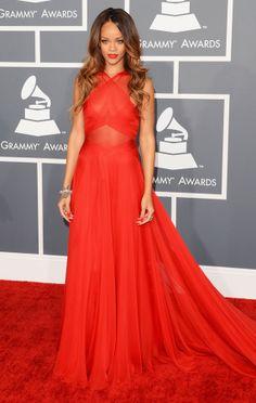 Rihanna – in a dress for Azzedine Alaïa – at the Grammy 2013