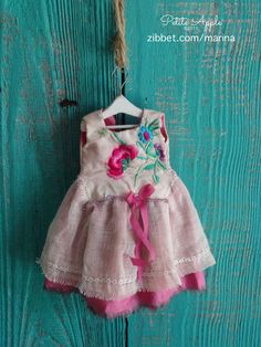 "Blythe doll outfit *Oriental flowers"" OOAK vintage embroidered dress"