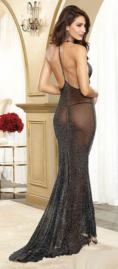 "DG10013 - (Back View) GOWN ~ ""Shades of 40's Hollywood"" This Shimmering Metallic Mesh Fishtail Hem Gown with Dramatic Low T-Back Includes: Matching G-String Sizes: S, M, L, XL Color: Black"