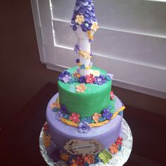 Disney's Tangled themed Happy Birthday Cake